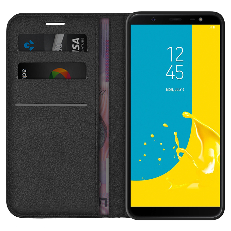 low priced 7bbd6 7d89d Leather Wallet Case for Samsung Galaxy J8 (Black)